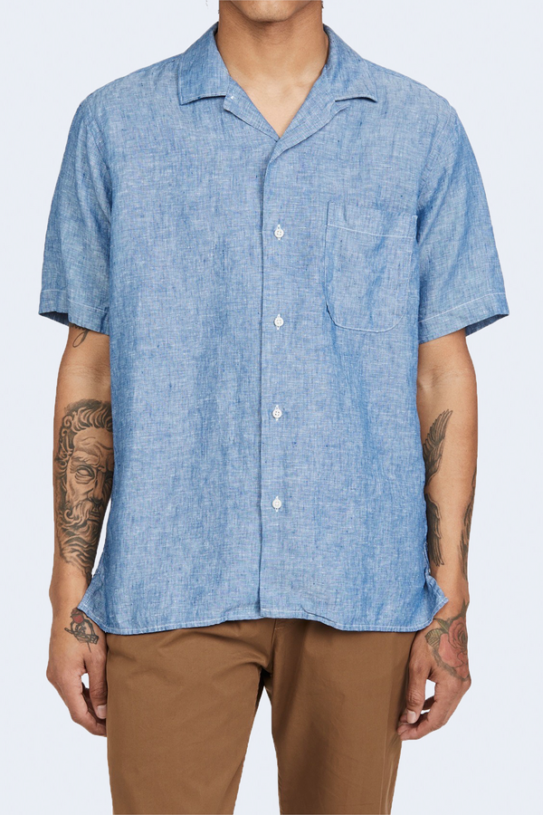 Linen Camp Shirt in Chambray