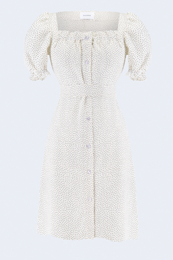 Linen Brigitte Mini Dress in Dot Print