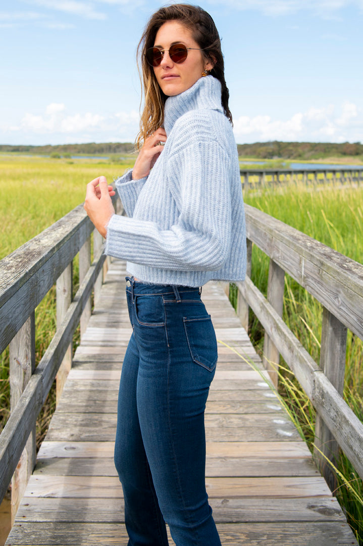 Cropped Ribbed Turtleneck Sweater in Baby Blue