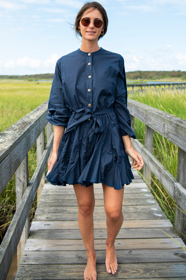 Emma Long Sleeve Button Down Dress in Navy