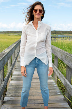 Cotton Voile Button Down Shirt in Ivory