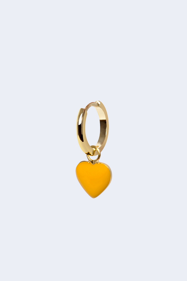 18K Gold Plated Yellow Enamel Heart Earring SINGLE