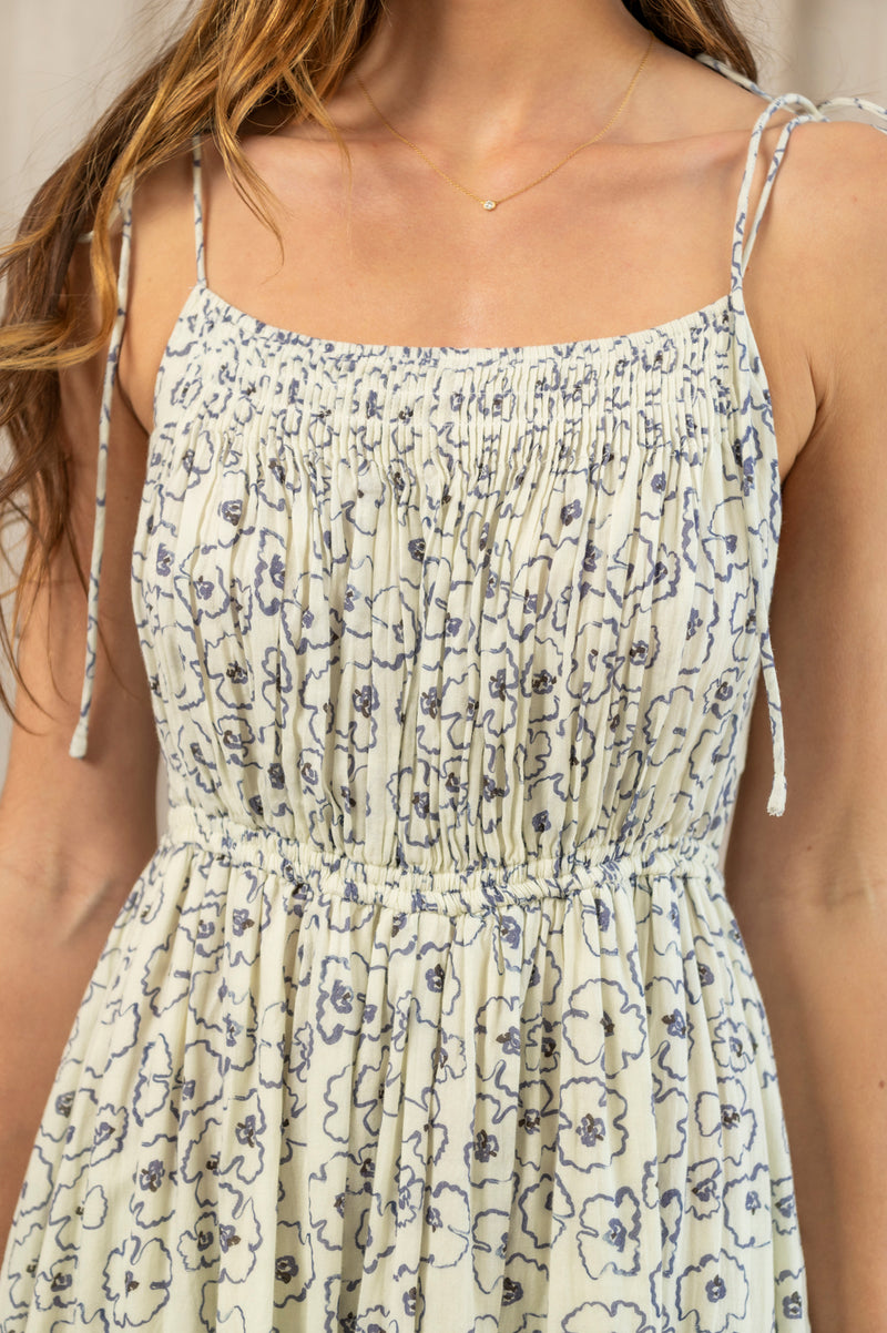 Cecile Tank Dress in Rosie Floral Cream
