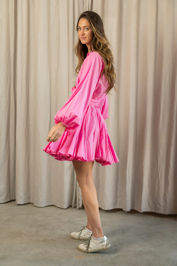 Emma Long Sleeve Button Down Dress in Pink
