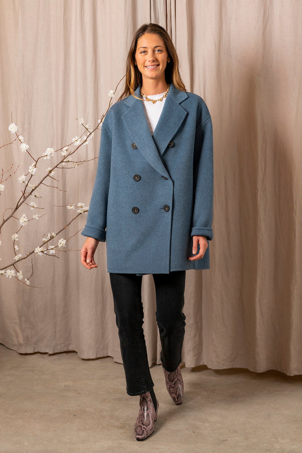 Women's Odine Double Jacket in Aqua Blue Melange