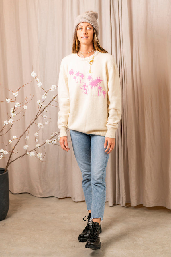 Skier Palm Sweater in White Pink