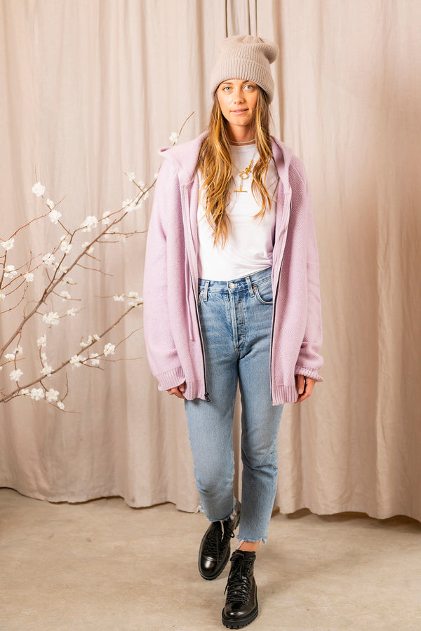 French Terry Zippered Hoodie in Lilac