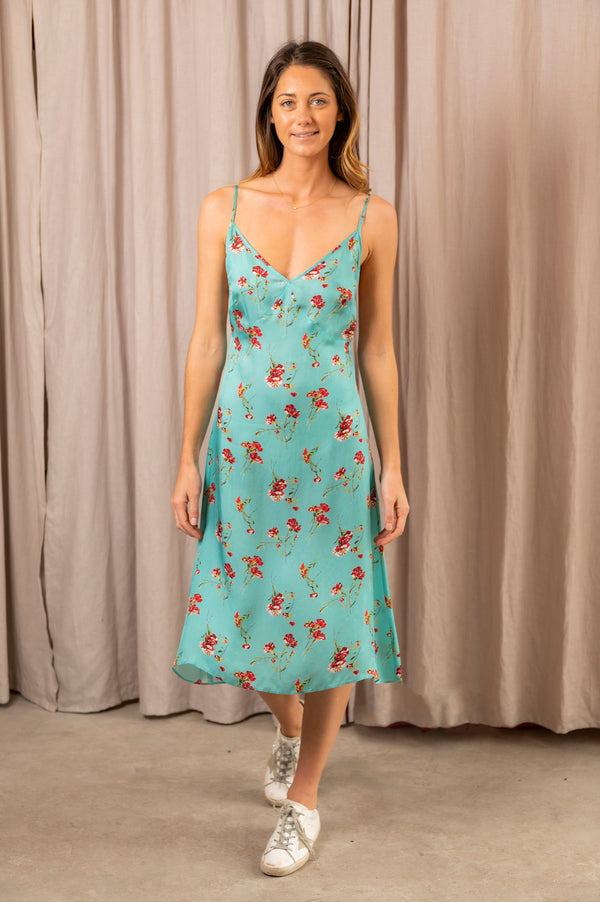 Women's Midi Slip with Back Tie in Light Blue Floral