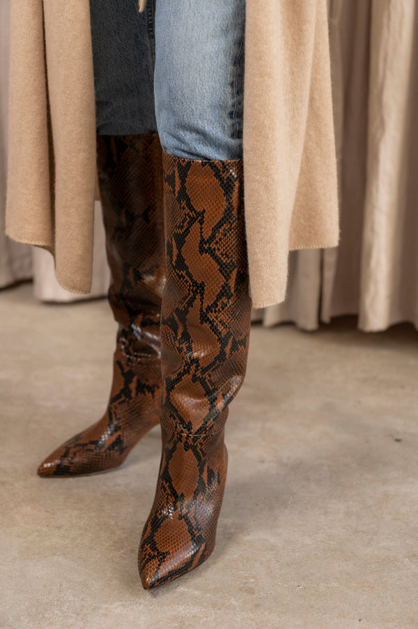 Python Print Tall Stiletto Boot in Marrone