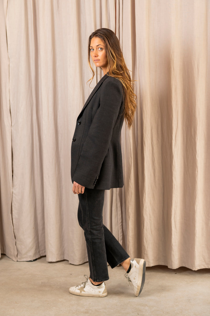 Women's Joella Double Suit Jacket in Charcoal Grey