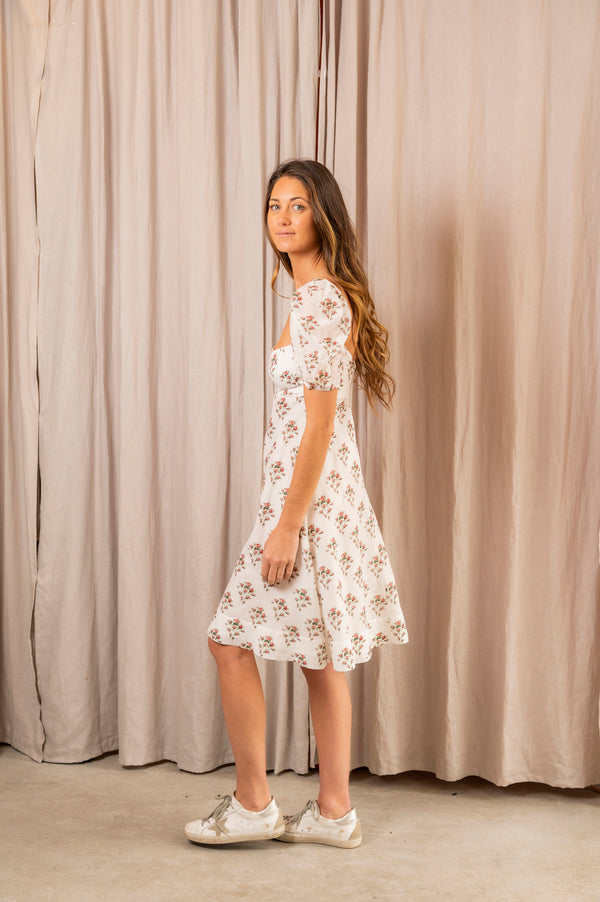 Riva Cotton Printed Short Sleeve Dress in Natural