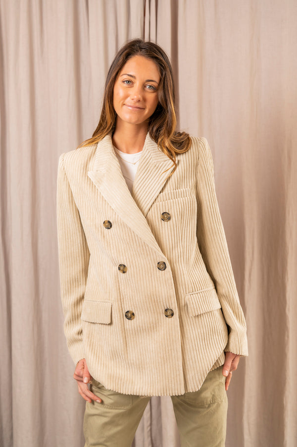 Daleyo Velvet Costard Jacket in Beige