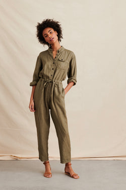 Women's Linen Jumpsuit in Olive