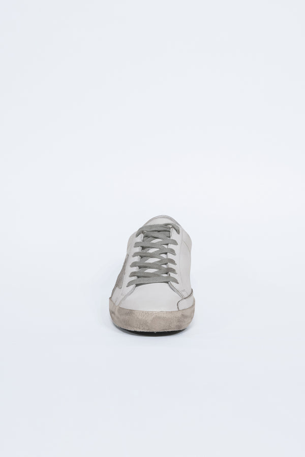 White Leather Golden Words Superstar Sneakers