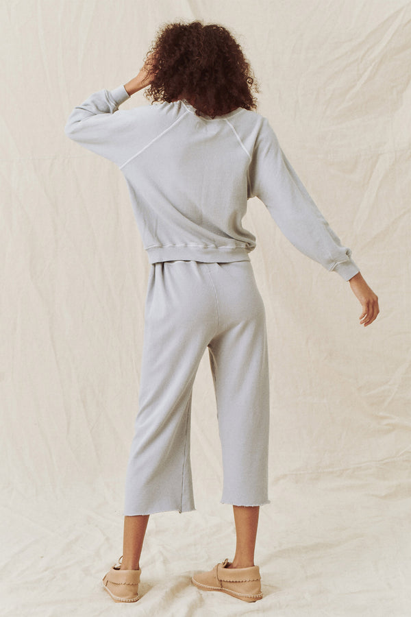 The Wide Leg Cropped Sweatpant in Prairie Sky