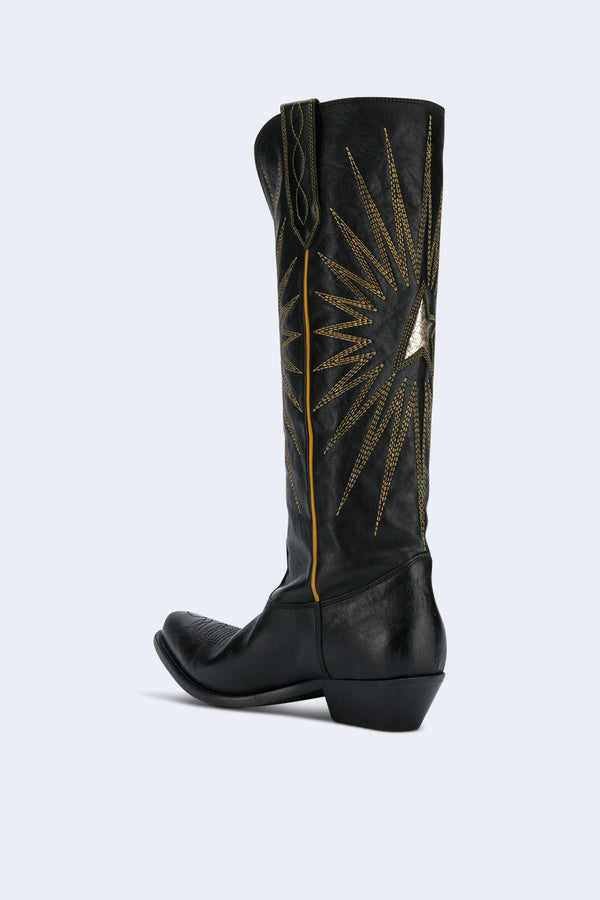 Women's Wish Star Black Shiny Leather Boots
