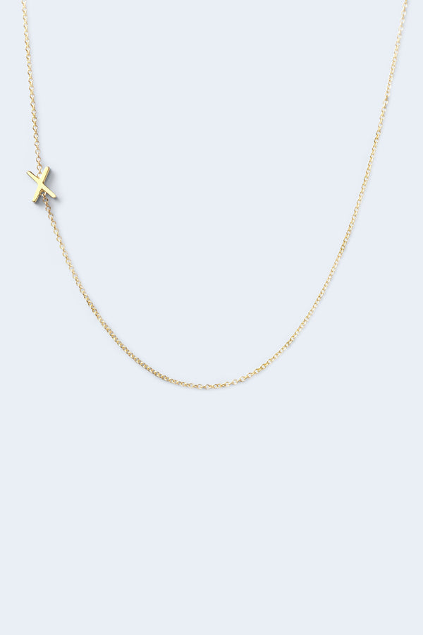 """X"" Alphabet Letter Necklace - Yellow Gold"