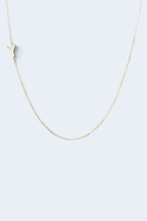 """Y"" Alphabet Letter Necklace - Yellow Gold"