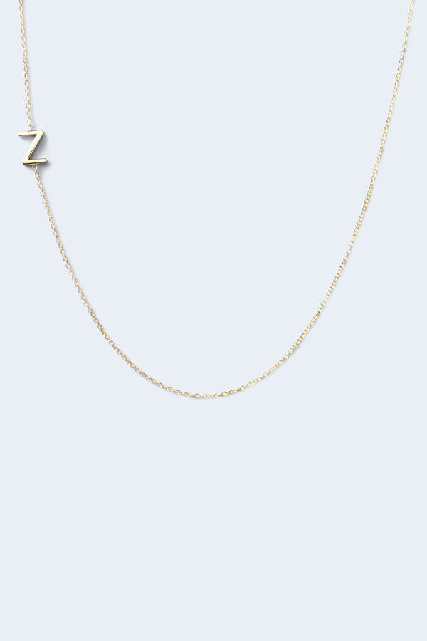 """Z"" Alphabet Letter Necklace - Yellow Gold"