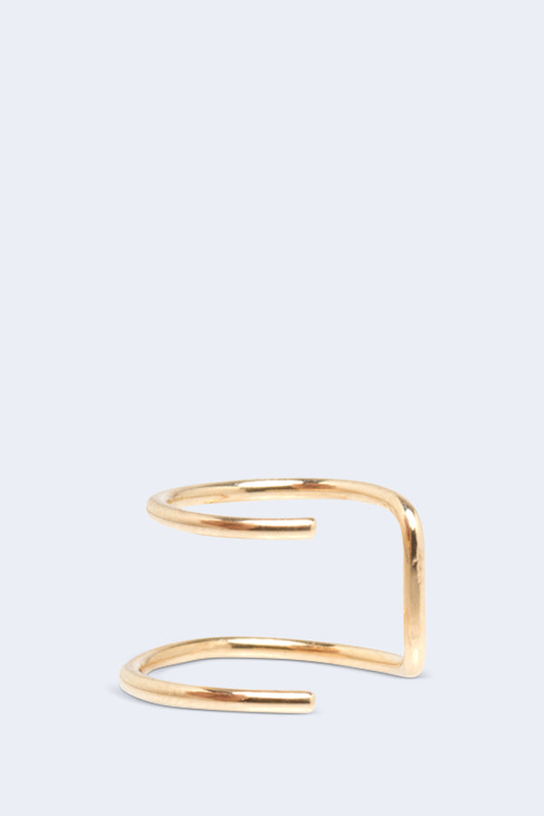14K Gold Thin Wire Double Ear Cuff SINGLE