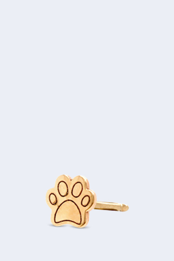 14K Gold Itty Bitty Dog Paw Stud Earring SINGLE