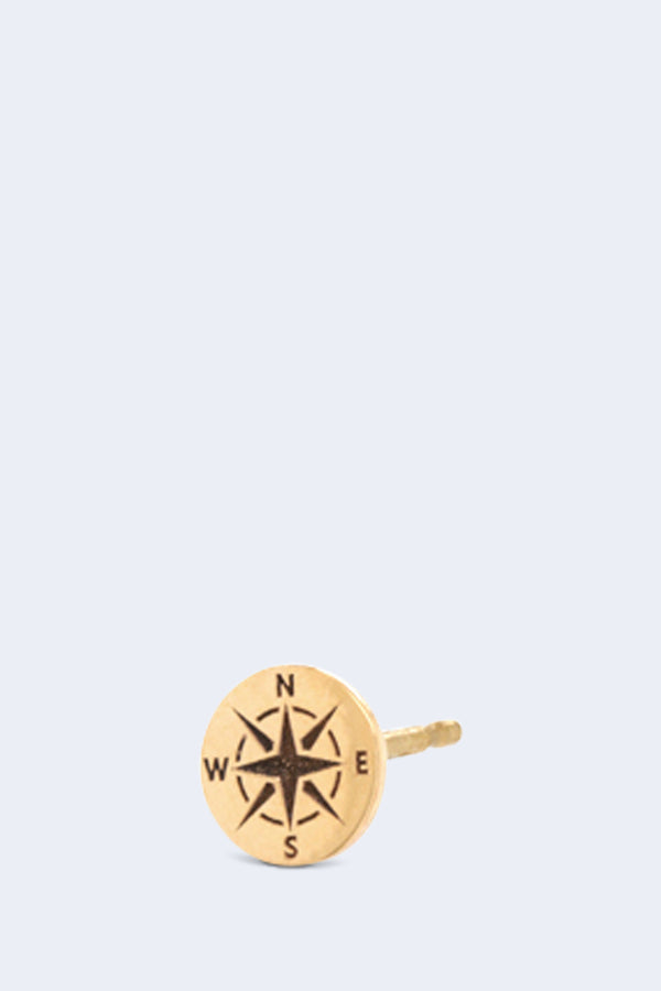 14K Gold Itty Bitty Compass Stud Earring SINGLE