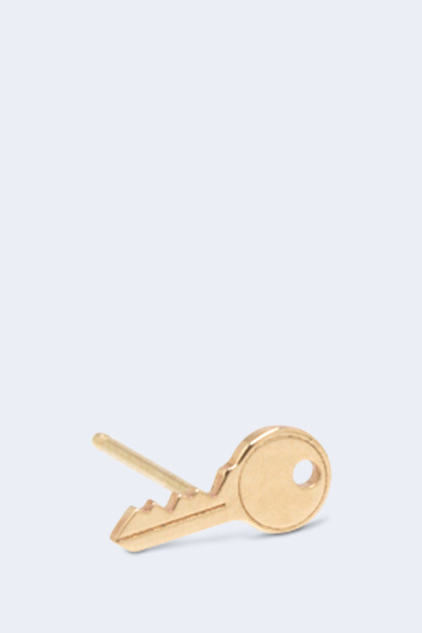 14K Gold Itty Bitty Key Stud Earring SINGLE