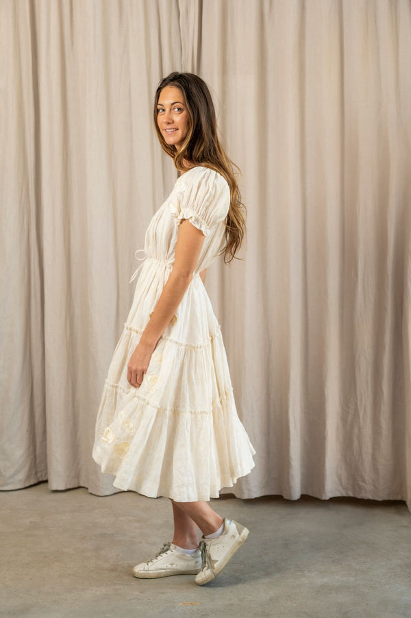 Milk Linen Full Peasant Dress