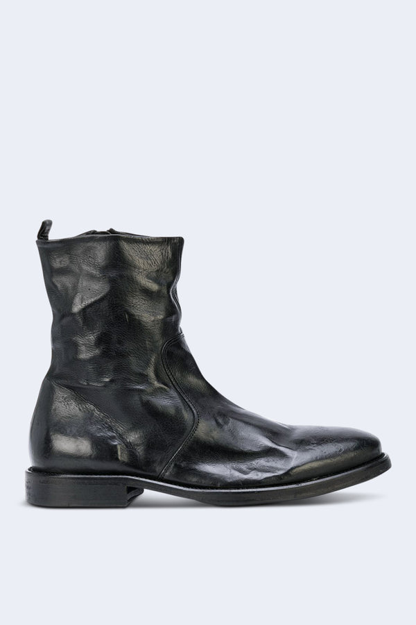 Zip Up Washed Leather Boot in Black