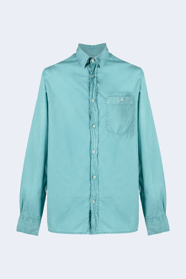 Alex Pigment Dyed Cotton Shirt in Brittany Blue