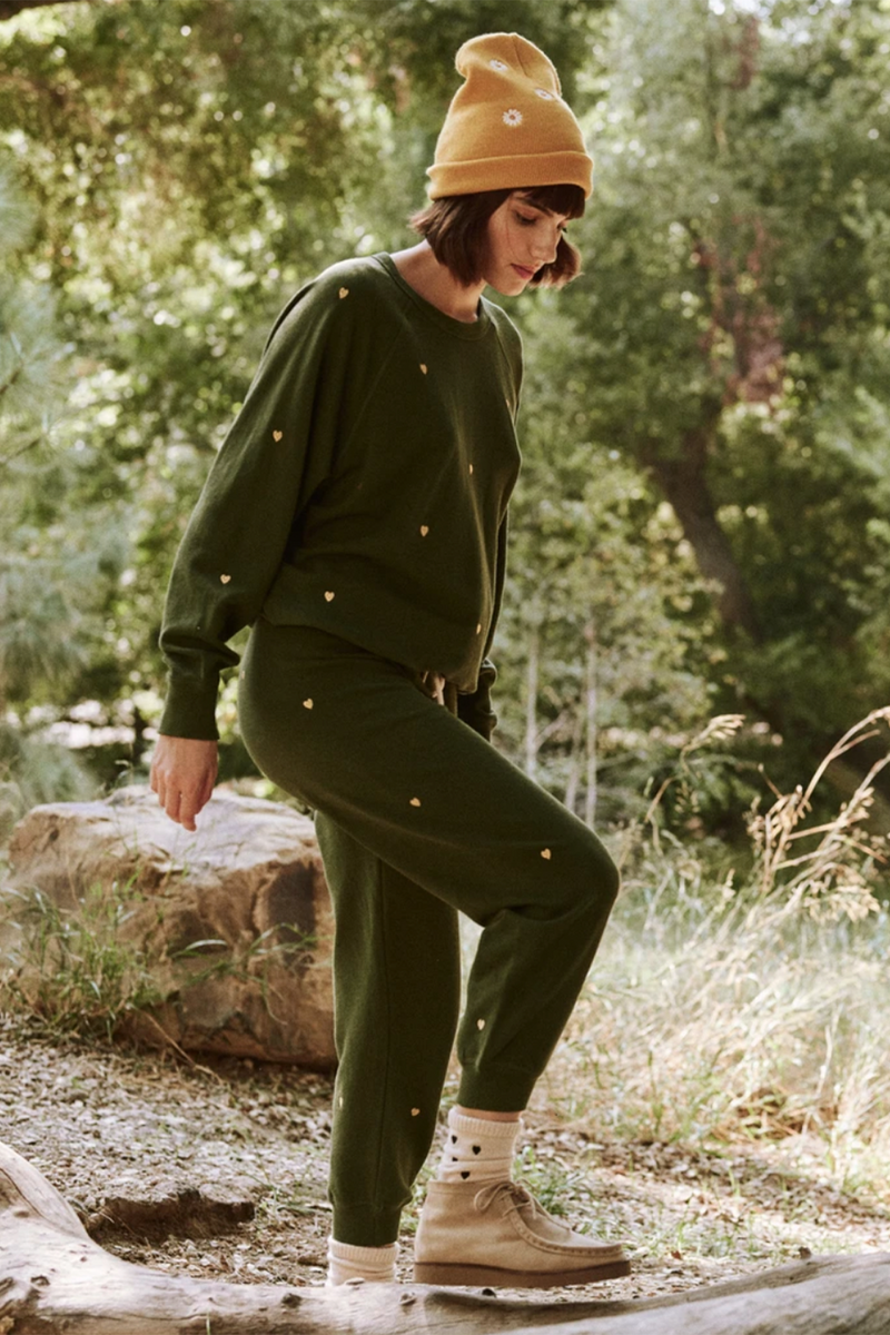 The Cropped Sweatpant with Heart Embroidery in Army