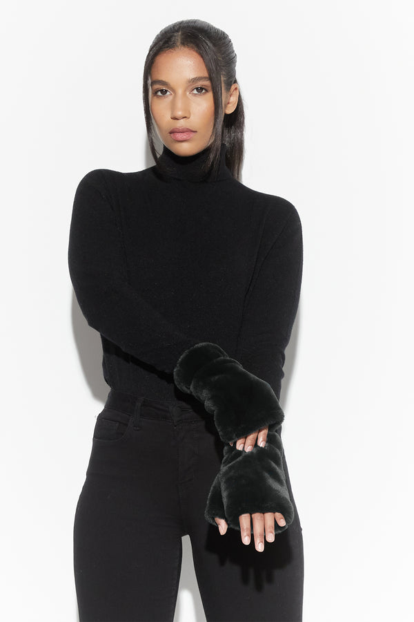 Ariel Faux Fur Fingerless Gloves in Noir