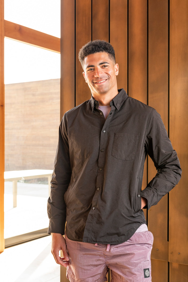 Alvaro Wool Lined Shirt Jacket in Black