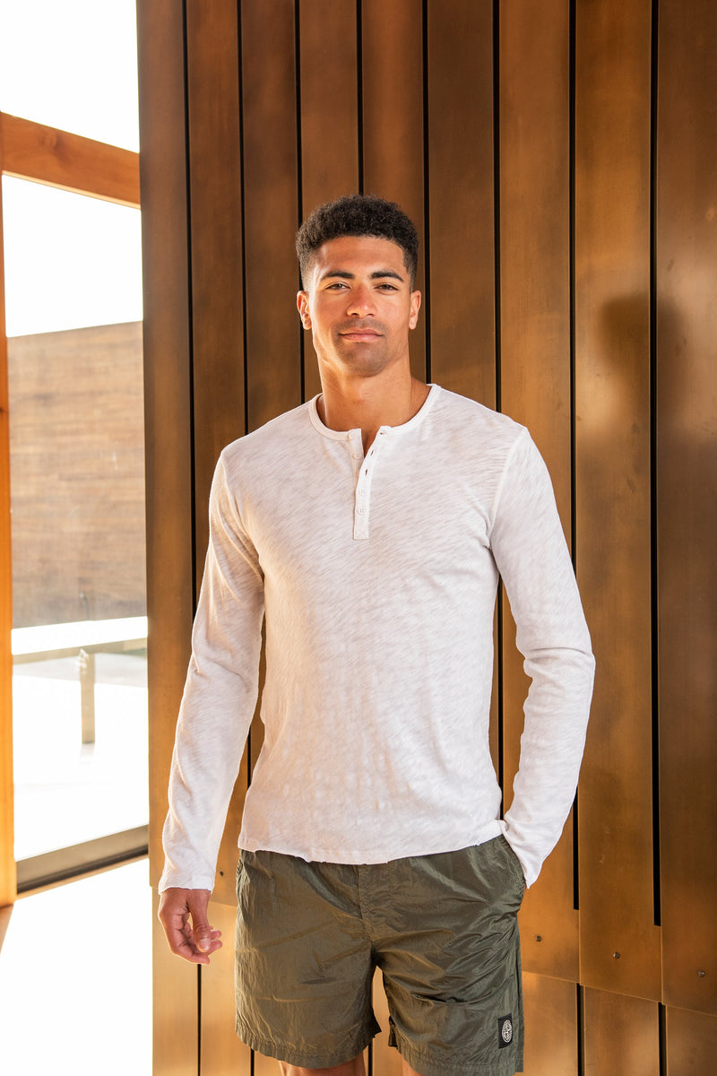 Men's Long Sleeve Destroyed Wash Henley in White