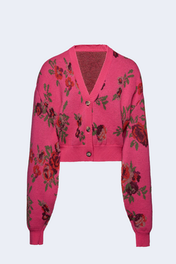 Balloon Sleeve Knit Cardigan in Pink Flower