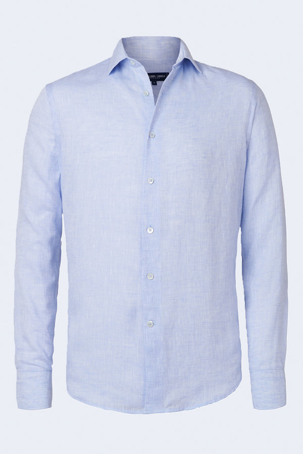 Linen Regular Long Sleeve Block Shirt in Baby Blue