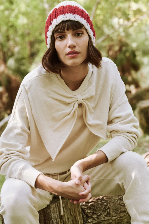 The Bow Sweatshirt in Washed White