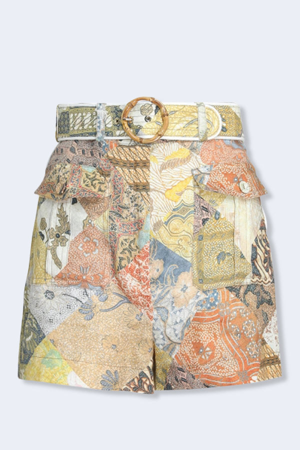Brightside Piped Shorts in Batik Patch