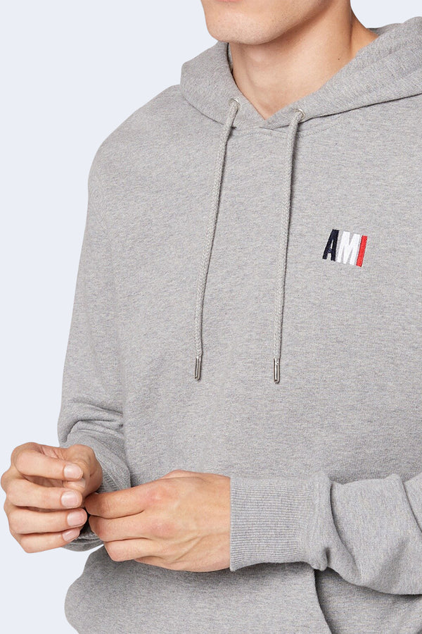 Embroidered Logo Hoodie in Heather Grey