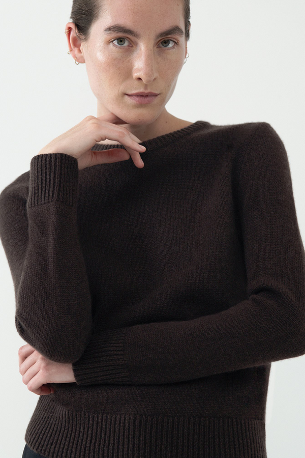 Cashmere Crewneck Sweater in Brown