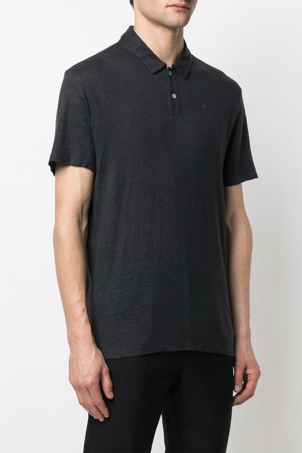 Bruno Polo Piece Dyed Linen Shirt in Dark Navy