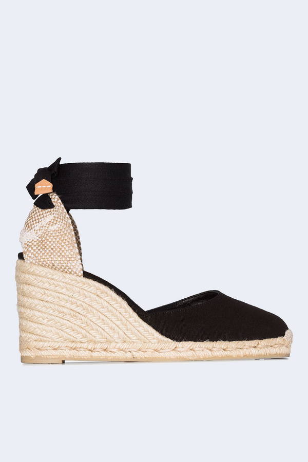 Carina Tie Strap Wedge Heel and Espadrille in Negro