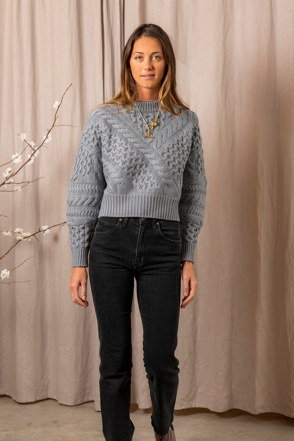 Cable Crew Neck Sweater in Misty Blue