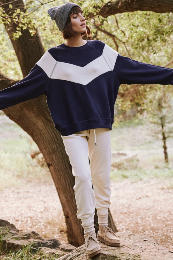 The Sherpa Chevron Sweatshirt in Navy