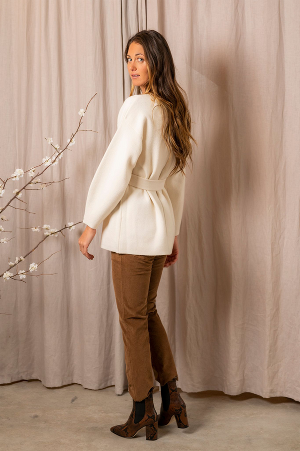 Wool Cashmere Knit Belted Sweater in Ivory
