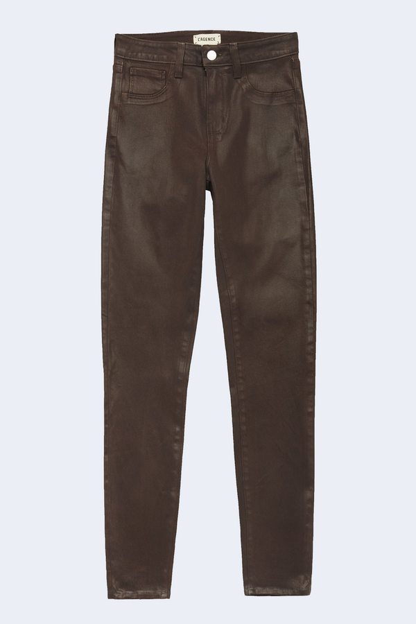 Marguerite High Rise Skinny Jean in Cocoa Coated
