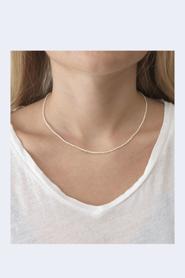 Constance Pearl Necklace in womans neck