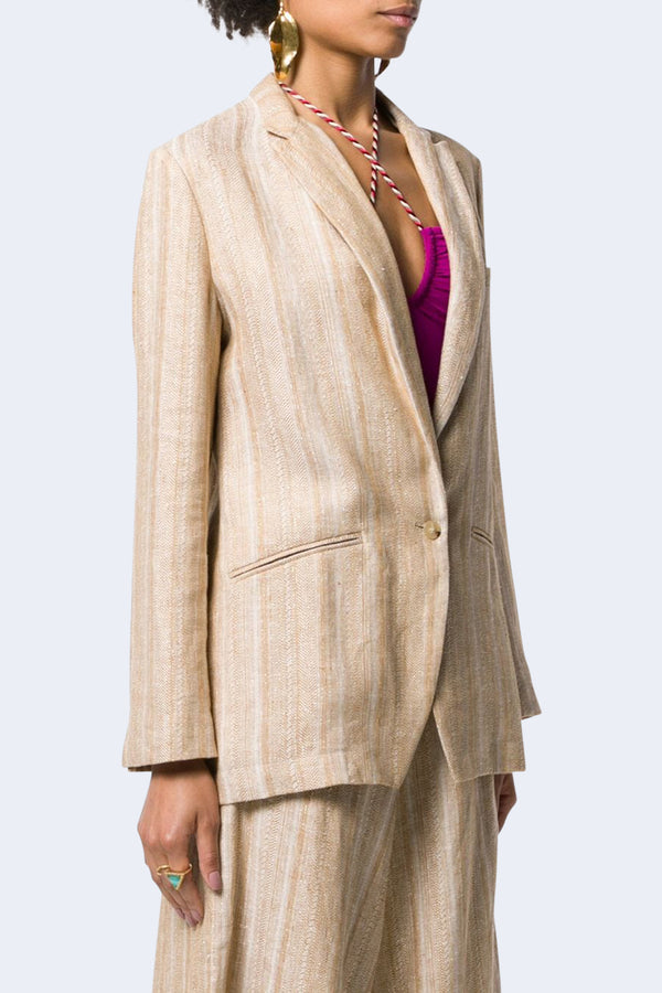 Cotton Linen Herringbone Jacket in Ambra