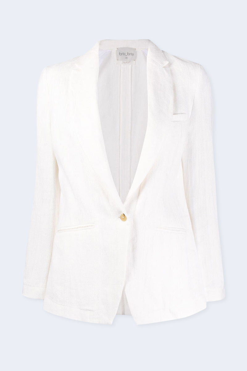 Cotton Linen Herringbone Jacket in Blanco