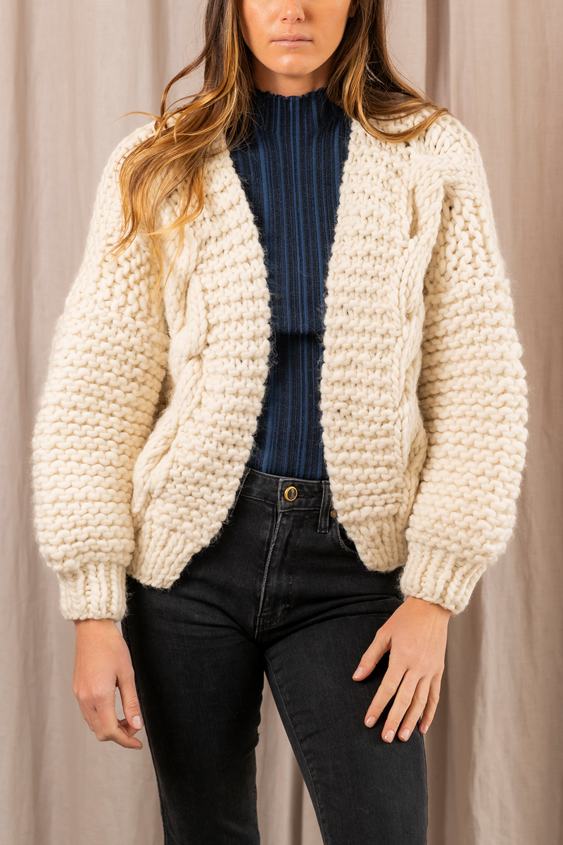 Diamond Chunky Wool Bomber in Cream